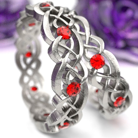 Ruby Eternity Ring Set, Celtic Infinity Band, Sterling Silver Wedding Band, Budget Wedding Ring, Woven Wedding Ring, Custom Size CR-1044