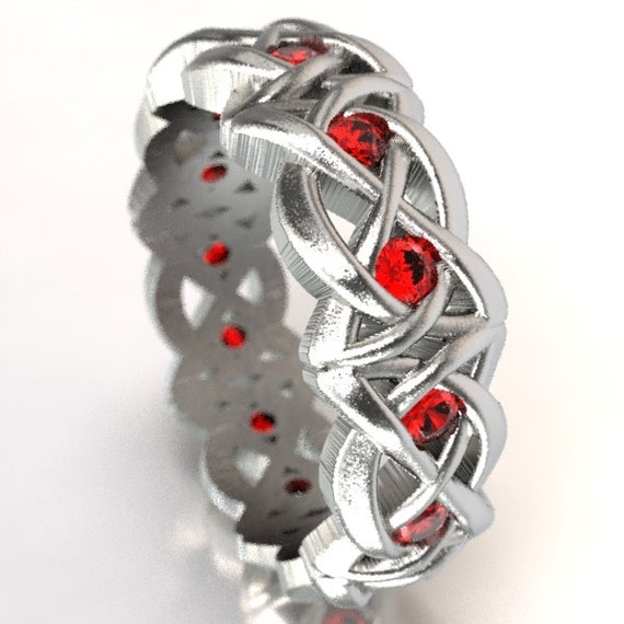 Celtic Cut-Through Dara Style Knot Design in Sterling Silver with Rubies, Made in Your Size CR-1064