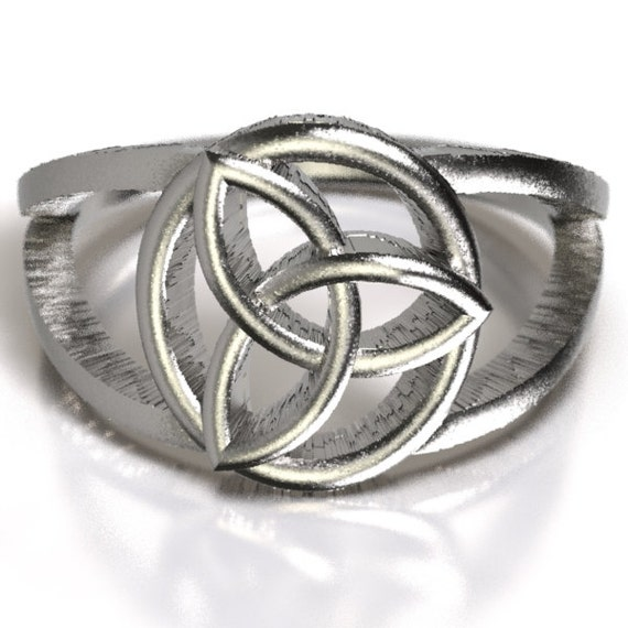 Celtic Fashion Signet Ring With Encircled Trinity Knot Design in Sterling Silver, Made in Your Size CR-5003