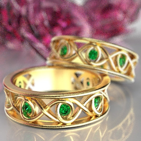 Celtic Emerald Wedding Band Set With Infinity Knot Design in 10K 14K 18K Gold, Palladium or Platinum Made in Your Size CR-511