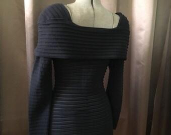 Vintage 80s Black Bodycon Bandage Mini Avant Garde Shoulder Ribbed Striped SHEER Square Neck Long Sleeve Grunge Rocker Dress