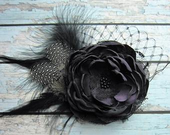 Romantic Eggplant Plum Satin / Black lace Hairpiece,Great Gatsby Hair Clip, Art Deco Hair  Accessories