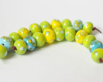Lampwork Beads - 20 Beads Set - Green Yellow Turquoise Dotted