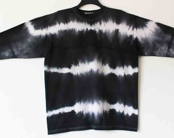 Men's black tie dyed long sleeved t shirt XL