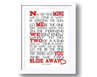 Song Lyrics Oasis Slide Away ( Print Only) Lyric Art Song Print Music Lyrics Gift Typography Printed Lyrics
