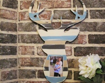 Deer Head Single Picture Frame, Wooden Frame, Wall Art, FINISHED Decor