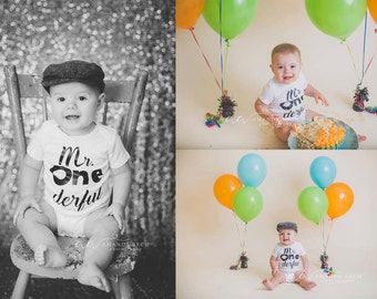 Baby boy onesie, First Birthday Boy onesie, Mr One Derful onesie, photo prop, cake smash, boys clothing