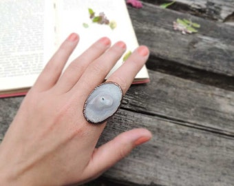 Oval agate ring, size 8.75 US, raw ring, splendid, boho, bohemian, copper Electroformed, Statement Ring, gift, earthy, large ring, grey