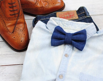 Blue Denim Bow Tie | Clip on Bow Tie | Bow Ties for Men | Gift for groom | Father's Day | Bow Ties for Boys | Gift for him | Christmas gift