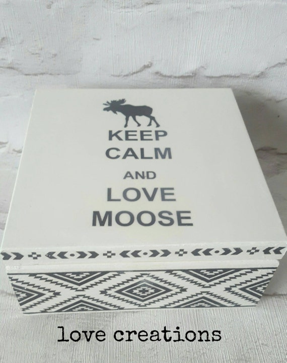 Moose,keep calm,white and black,Scandinavian style,box wooden tea caddy,modern, minimalistic,design,home decor,storage,4compartments trinket