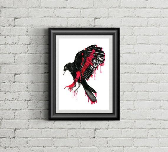 Surreal Black and Pink Inky Crow  - Print of Original Ink Illustration