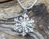 Snowflake Pendant 23mm Sterling Silver Diamond Pave' Tooled or Hammered snow flake