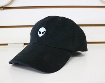 Light Grey Blue Alien Dad Hat
