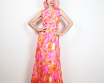 Vintage 70s Dress Hawaiian Luau Maxi Dress Bright Orange Pink Tropical Floral Sundress 1970s Dress Empire Waist Midi Hippie Dress M Medium L