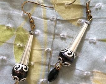Black bead with silver cone handmade dangle