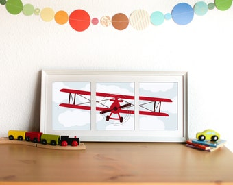 Baby Boy Nursery Art Airplane Print Set -  Transportation Nursery Decor - Set of 3 prints