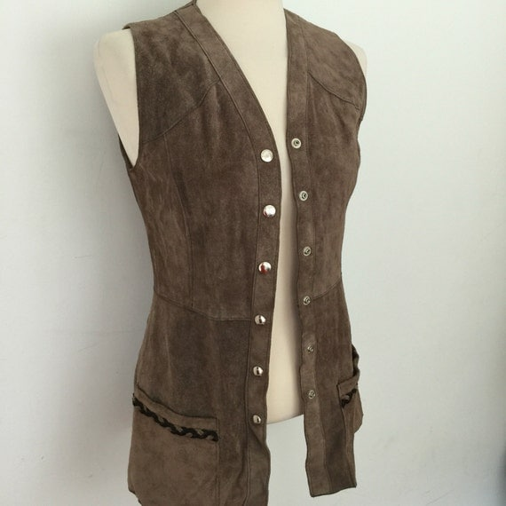 vintage Suede waistcoat 1970s vest brown suede leather long 70s waist coat hippy boho top plaited leather trim UK 8 mink brown festival chic