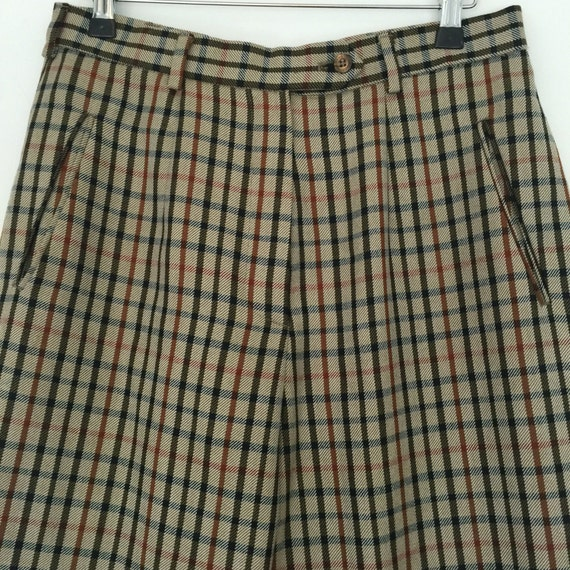 vintage Daks classic check trousers 1950s cut high waist tapered pants brown plaid UK 12  flat front 50s style trousers 30""