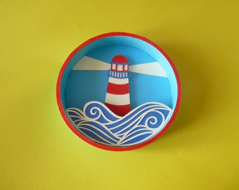 Lighthouse, small box round paper