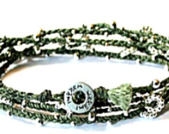 Life is what.... Long wrap bracelet olive/silver