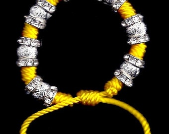 Bracelet: Vibrant Yellow with Stardust Beads & Crystal Rondelles