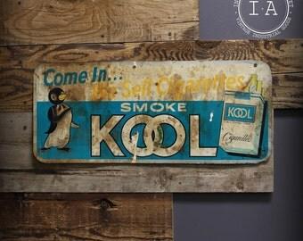 Vintage Metal Kool Cigarettes Store Advertising Sign Tobacciana