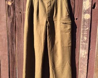 1953 Women's Army Green Wool Trousers.