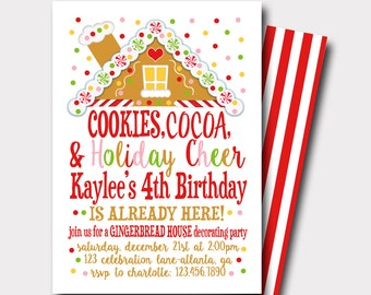 Gingerbread Birthday Invitation | Christmas Birthday Invitation | Cookies and Cocoa |  Cookie Decorating Party | Cookie Exchange