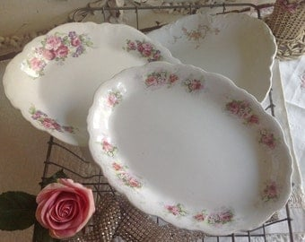 Three antique shabby chic cottage pink rose covered white ironstone platters
