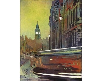 Watercolor painting of Big Ben and traffic in the city of London, England.  Big Ben painting. Fine art print.  London art.  Big Ben painting