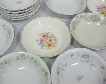 Mismatched China Berry Bowls, Porcelain Dessert Bowls, set of 12