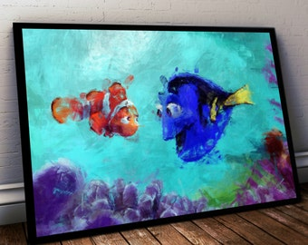 Finding Dory Poster. Finding Nemo Painting Print. Mounted Canvas available on request details in listing