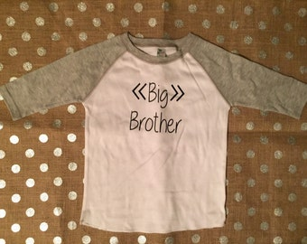Personalized 3/4 sleeve baseball tee, big brother shirt, custom shirt, toddler clothes, boys and girls clothes, big brother gift