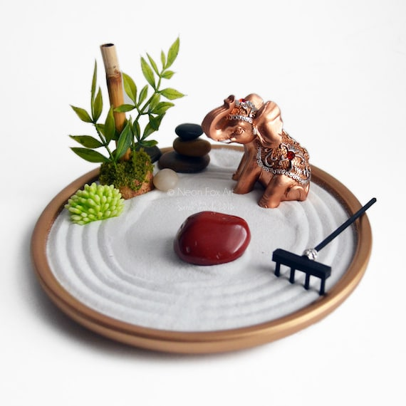 Mini zen garden miniature elephant statue desk for Jardin zen miniature