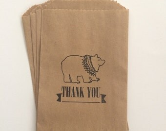 Tribal Bear Thank You Kraft 4x6 Favor Bags, Set of 25