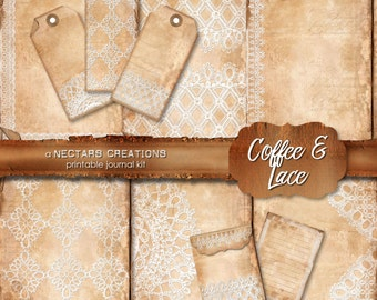 COFFEE & LACE Printable Junk Journal Kit. Vintage coffee stained paper and lace, for Scrapbooking, Journals, Cards or Mixed Media craft