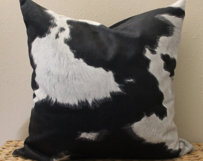 LIMITED - black and gray faux cowhide pillow