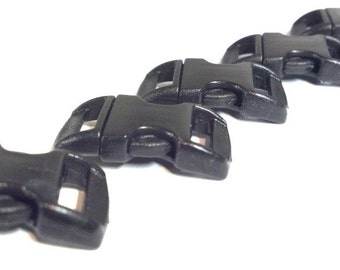 "100 High Quality 3/8"" Curved Side Release Buckles Black For Paracord"
