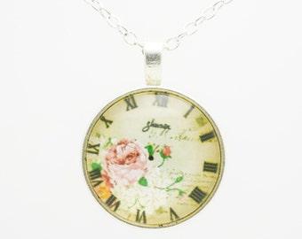Cabochon necklace 'clock'