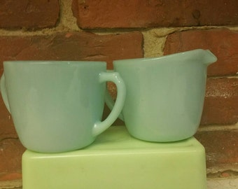 Mint Vintage Fire King Azurite Creamer and Sugar Bowl