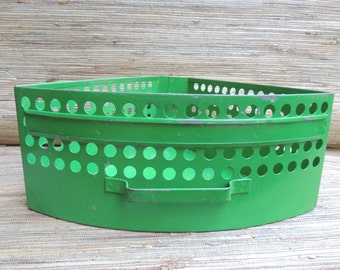 Vintage Green Metal Triangular Drawer Industrial Storage