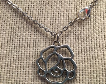 "20"" Silver Rose Necklace"