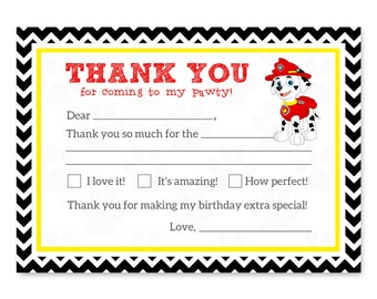 Paw Patrol Marshall Thank You Cards - Kids Thank You Cards Paw Patrol - Paw Patrol Birthday Thank You Cards