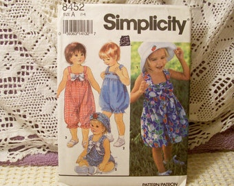 Simplicity Pattern - 8452 Toddlers' Romper In Two Lengths, Dress, Vest And Hat - Size 1,2,3,4