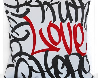 "Brooklyn Roots-Love Graffiti 16 Inch Pillow Cover in Black & Red / ""FREE SHIPPING!"""