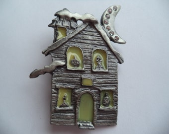 Vintage Signed AS Silvertone/Rhinestone  Haunted House Brooch/Pin