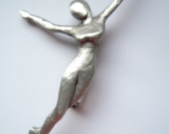 Vintage Signed JJ Silver pewter Lady Dancer Brooch/Pin