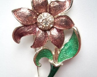 Fabulous Unsigned Vintage Enamel flower with Rhinestone Center Brooch/Pin