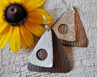 Silver nickel and Copper mixed metal earrings, hammered metal earrings, rustic earrings, artisan earrings