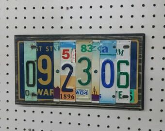 Anniversary Sign, Anniversary License Plate Sign, License Plate Sign, License Plate Art, Wedding Gift, 10th Anniv gift, Tin Anniversary